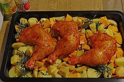Kürbis, Kartoffeln und Hähnchenschenkel aus dem Backofen 13