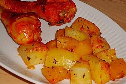 Kürbis, Kartoffeln und Hähnchenschenkel aus dem Backofen 38