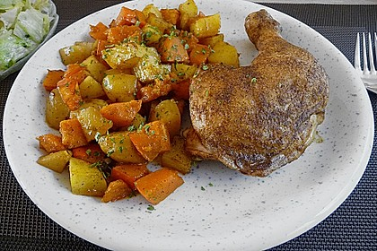 Kürbis, Kartoffeln und Hähnchenschenkel aus dem Backofen 10