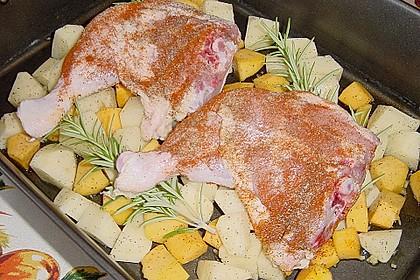 Kürbis, Kartoffeln und Hähnchenschenkel aus dem Backofen 58