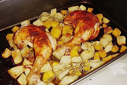 Kürbis, Kartoffeln und Hähnchenschenkel aus dem Backofen 64