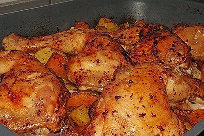 Kürbis, Kartoffeln und Hähnchenschenkel aus dem Backofen 24