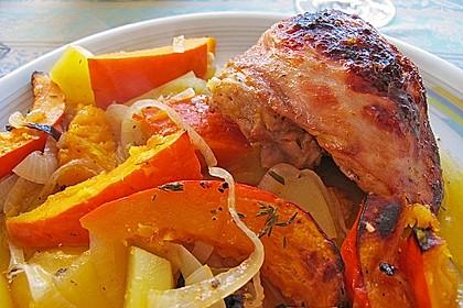 Kürbis, Kartoffeln und Hähnchenschenkel aus dem Backofen 7