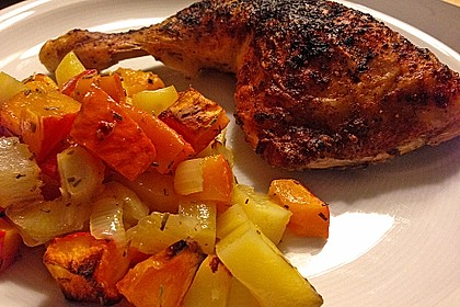 Kürbis, Kartoffeln und Hähnchenschenkel aus dem Backofen 15