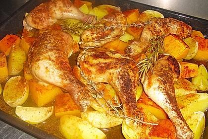 Kürbis, Kartoffeln und Hähnchenschenkel aus dem Backofen 6
