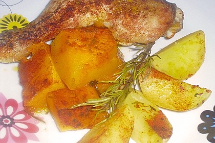 Kürbis, Kartoffeln und Hähnchenschenkel aus dem Backofen 22