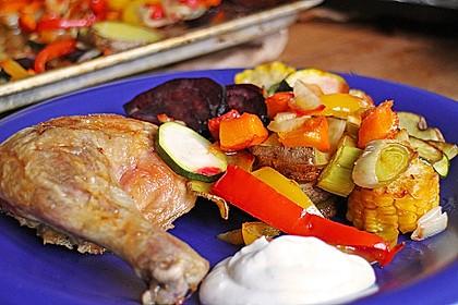 Kürbis, Kartoffeln und Hähnchenschenkel aus dem Backofen 27
