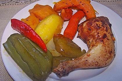 Kürbis, Kartoffeln und Hähnchenschenkel aus dem Backofen 48