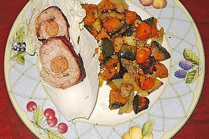 Kürbis, Kartoffeln und Hähnchenschenkel aus dem Backofen 65