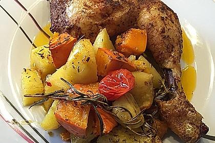 Kürbis, Kartoffeln und Hähnchenschenkel aus dem Backofen 2