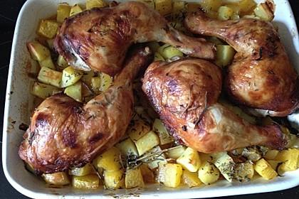 Kürbis, Kartoffeln und Hähnchenschenkel aus dem Backofen 45