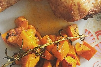 Kürbis, Kartoffeln und Hähnchenschenkel aus dem Backofen 62