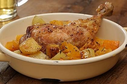 Kürbis, Kartoffeln und Hähnchenschenkel aus dem Backofen 21