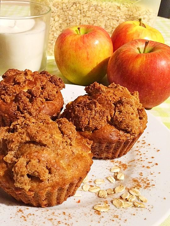 apfel zimt muffins mit haferflocken rezept mit bild. Black Bedroom Furniture Sets. Home Design Ideas