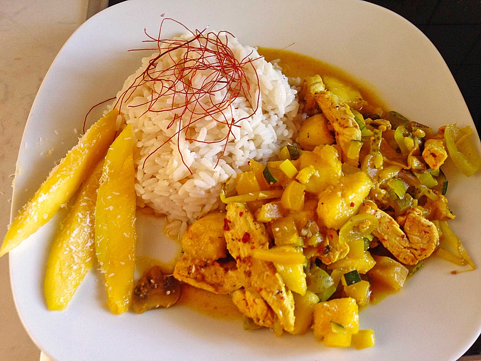 h hnchen curry mit mango und banane rezept mit bild. Black Bedroom Furniture Sets. Home Design Ideas