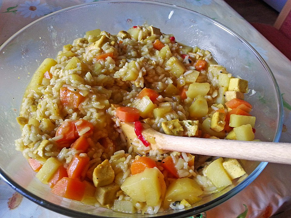 Vegetarisches Curry Mit Reis