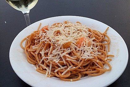 Spaghetti aglio olio e scampi 8