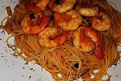 Spaghetti aglio olio e scampi 11