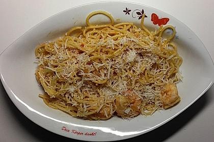 Spaghetti aglio olio e scampi 13