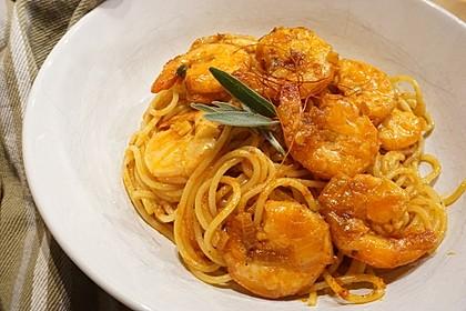 Spaghetti aglio olio e scampi 16