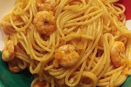 Spaghetti aglio olio e scampi 14