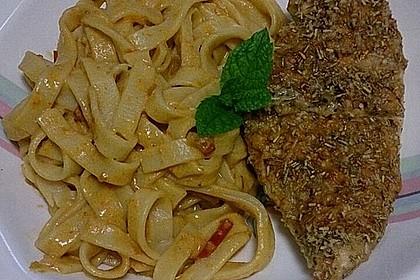 Hähnchenbrust mit Rosmarin-Parmesankruste und Linguine in Honig-Chili Sugo 4