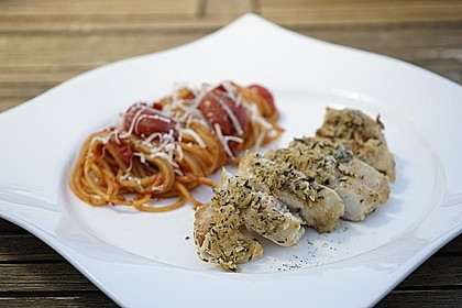 Hähnchenbrust mit Rosmarin-Parmesankruste und Linguine in Honig-Chili Sugo 1