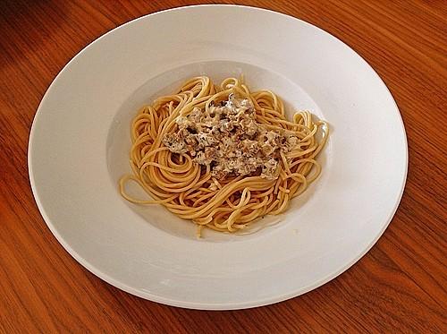 spaghetti mit krauser glucke in sahneso e rezept mit bild. Black Bedroom Furniture Sets. Home Design Ideas