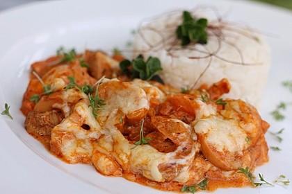 Gyros Spezial überbacken mit Paprika in Metaxasoße