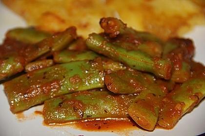 Grüne Bohnen mit Tomaten und Chili 0