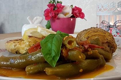 Grüne Bohnen mit Tomaten und Chili 2