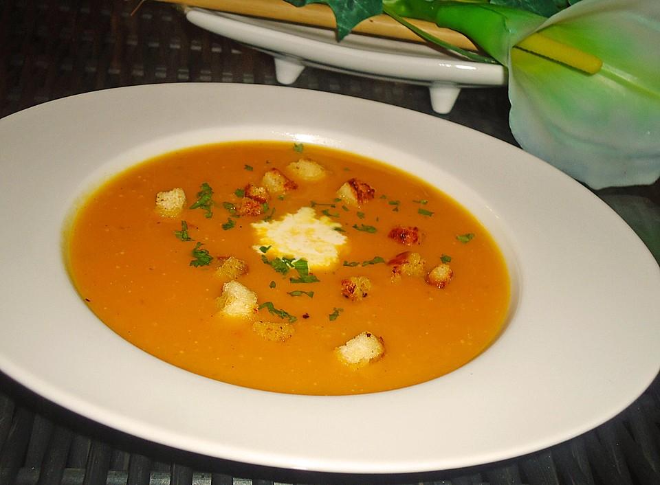 kartoffel-kürbis-suppe mit croutons (rezept mit bild) | chefkoch.de - Kürbissuppe Rezept Chefkoch
