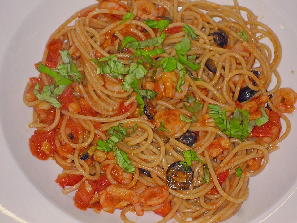 spaghetti mit garnelen oliven und tomaten von muuu1. Black Bedroom Furniture Sets. Home Design Ideas