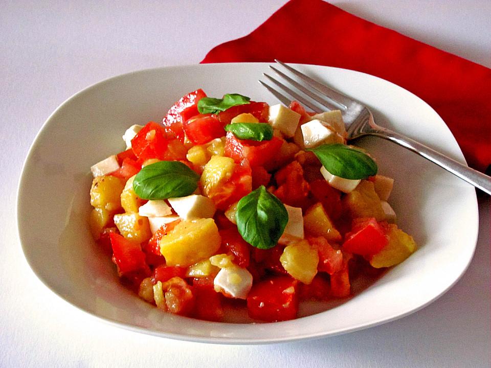kartoffelsalat mit tomaten und mozzarella von pralinchen. Black Bedroom Furniture Sets. Home Design Ideas