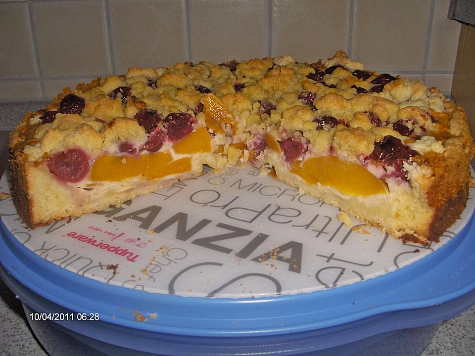 Pfirsich kirsch kuchen mit rahmguss und streuseln rezept for Kuchen mit bild