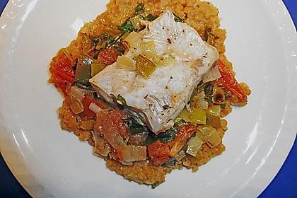 Fisch mit Lauch und Tomaten auf Linsenbett 6