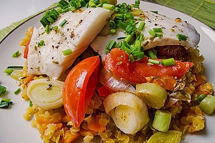 Fisch mit Lauch und Tomaten auf Linsenbett 1