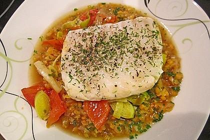 Fisch mit Lauch und Tomaten auf Linsenbett 5