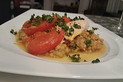 Fisch mit Lauch und Tomaten auf Linsenbett 12