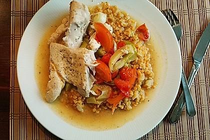 Fisch mit Lauch und Tomaten auf Linsenbett 9