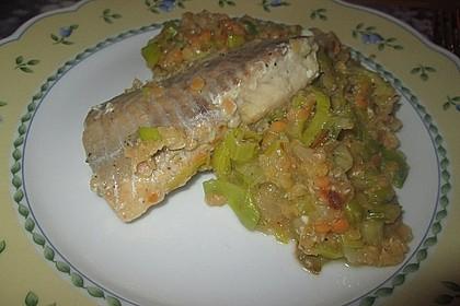 Fisch mit Lauch und Tomaten auf Linsenbett 11