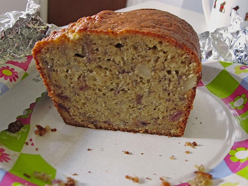 Bananenkuchen mit datteln pecann ssen und ahornsirup for Datteln deko