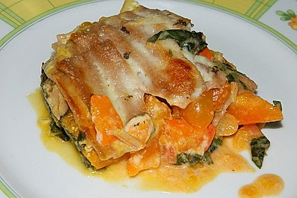 Kürbis-Mangold-Lasagne mit Ziegenkäsebechamel 0