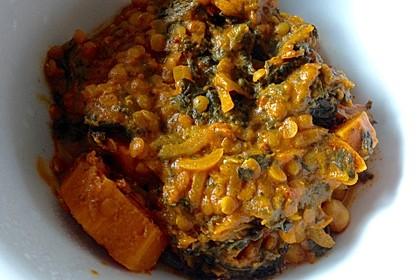 Kürbis-Spinat-Eintopf mit Linsen 22