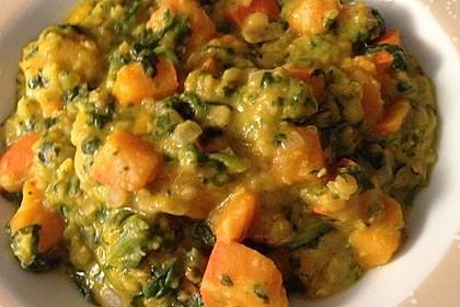 Kürbis-Spinat-Eintopf mit Linsen 16
