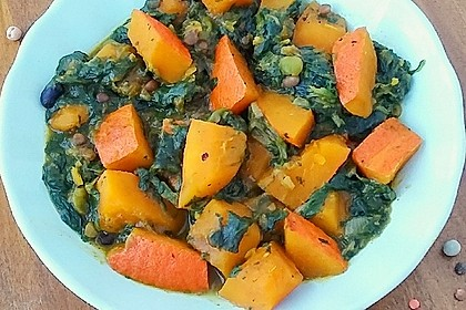 Kürbis-Spinat-Eintopf mit Linsen 25