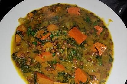 Kürbis-Spinat-Eintopf mit Linsen 13