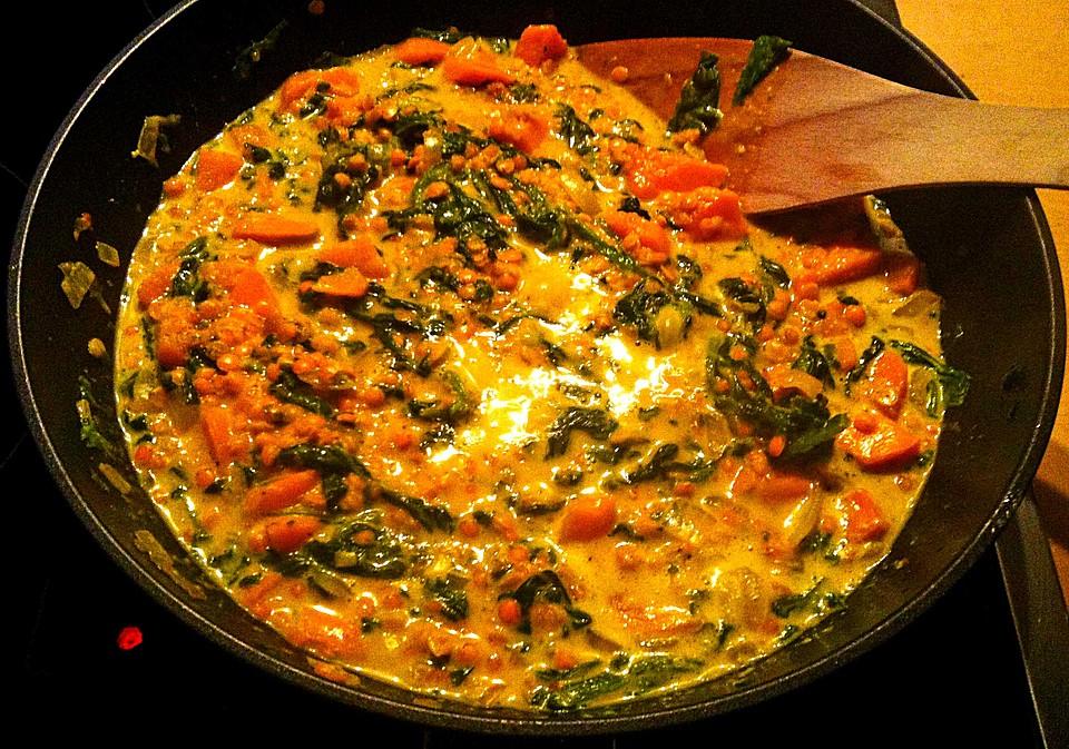 kürbis-spinat-eintopf mit linsen (rezept mit bild) | chefkoch.de - Kürbissuppe Rezept Chefkoch