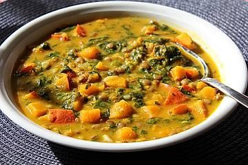 Kürbis-Spinat-Eintopf mit Linsen