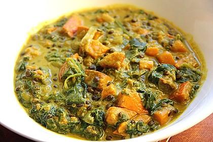 Kürbis-Spinat-Eintopf mit Linsen 1